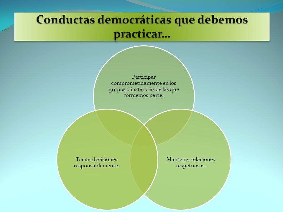 Conductas democráticas que debemos practicar… Participar comprometidamente en los grupos o instancias de las que formemos parte. Mantener relaciones r