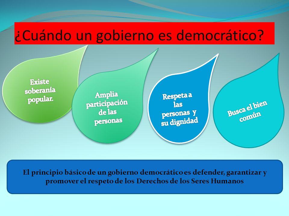 ¿Cuándo un gobierno es democrático? El principio básico de un gobierno democrático es defender, garantizar y promover el respeto de los Derechos de lo