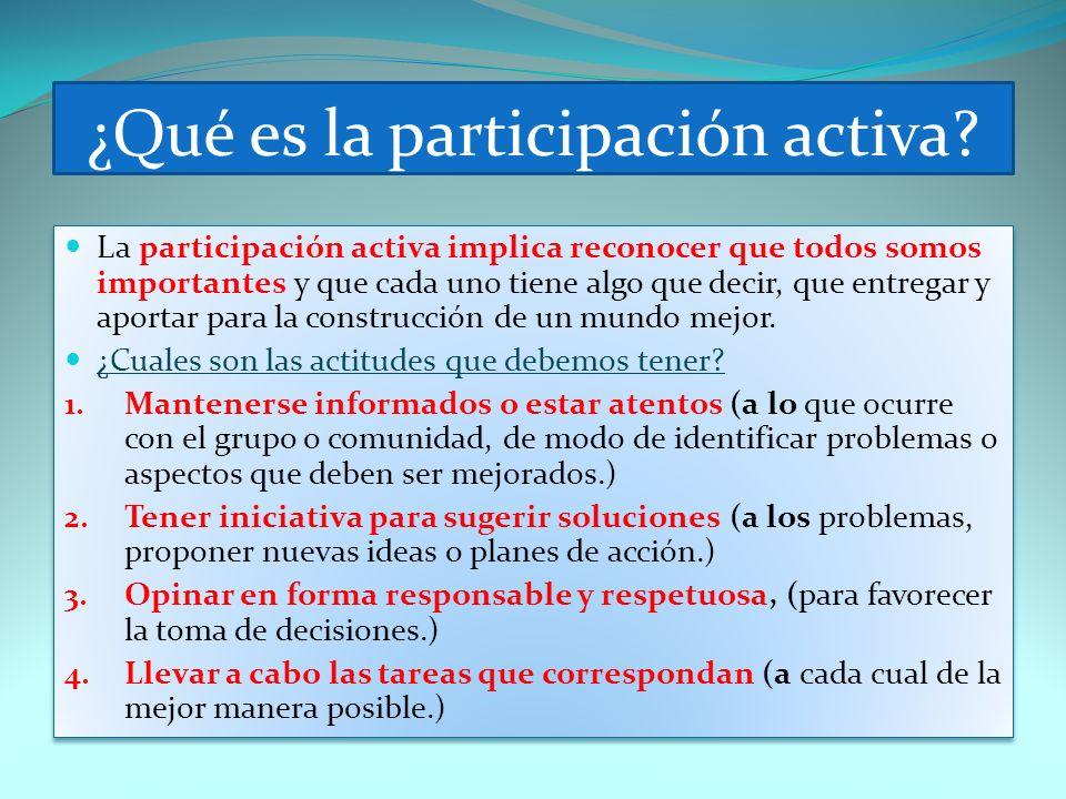 ¿Qué es la participación activa? La participación activa implica reconocer que todos somos importantes y que cada uno tiene algo que decir, que entreg