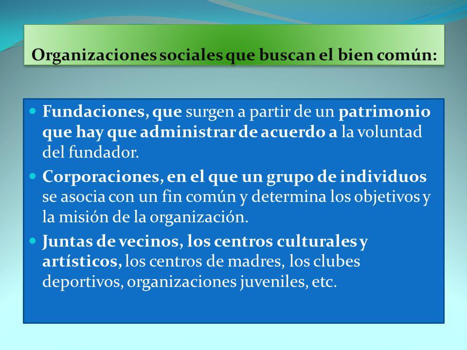 Organizaciones sociales que buscan el bien común: Fundaciones, que surgen a partir de un patrimonio que hay que administrar de acuerdo a la voluntad d