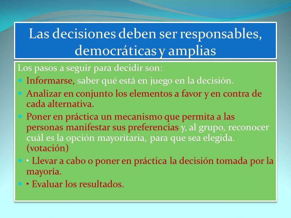 Las decisiones deben ser responsables, democráticas y amplias Los pasos a seguir para decidir son: Informarse, saber qué está en juego en la decisión.