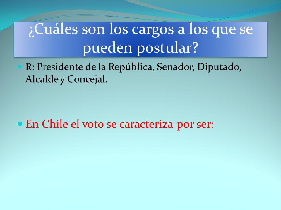 ¿Cuáles son los cargos a los que se pueden postular? R: Presidente de la República, Senador, Diputado, Alcalde y Concejal. En Chile el voto se caracte