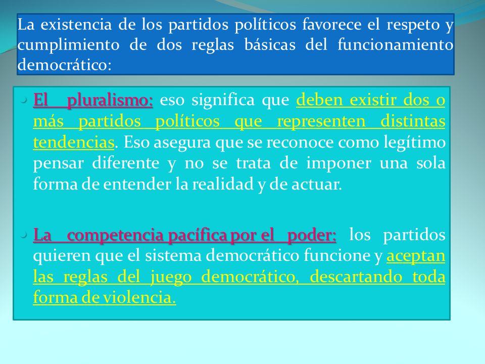 La existencia de los partidos políticos favorece el respeto y cumplimiento de dos reglas básicas del funcionamiento democrático: Elpluralismo: Elplura