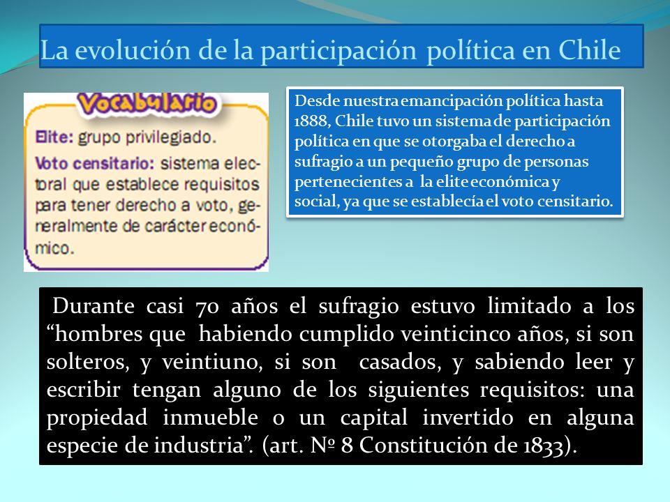 La evolución de la participación política en Chile Desde nuestra emancipación política hasta 1888, Chile tuvo un sistema de participación política en