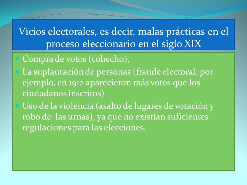 Vicios electorales, es decir, malas prácticas en el proceso eleccionario en el siglo XIX Compra de votos (cohecho), La suplantación de personas (fraud