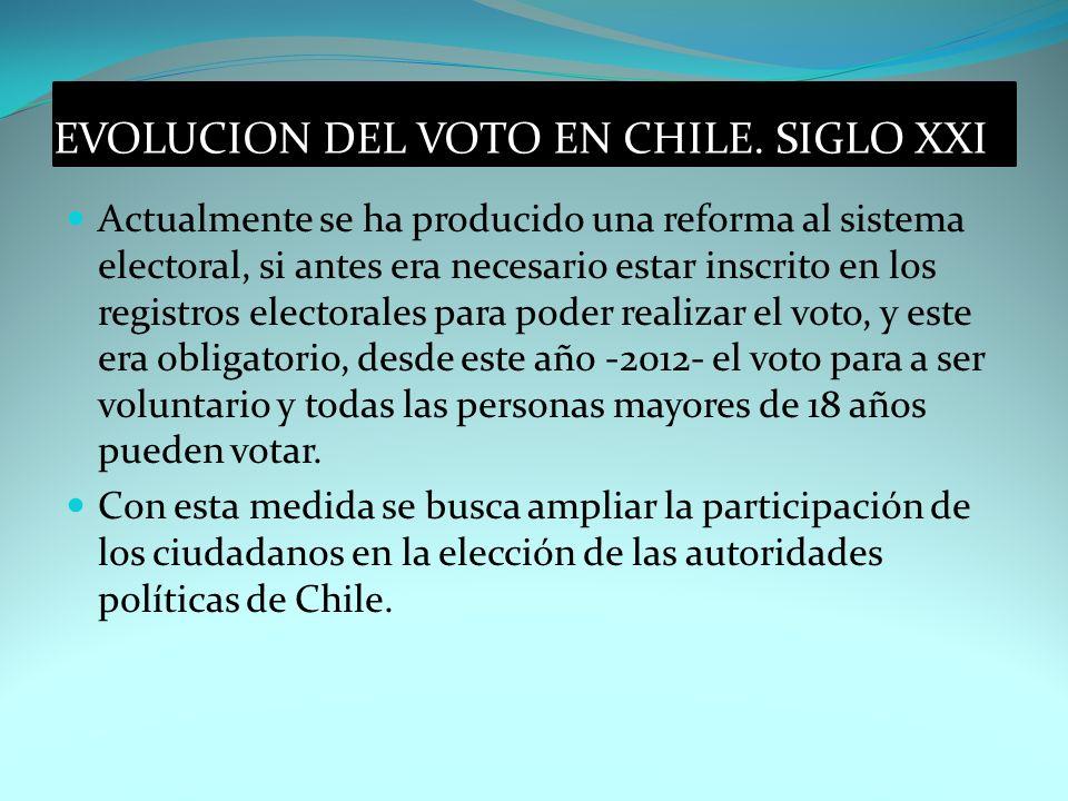 EVOLUCION DEL VOTO EN CHILE. SIGLO XXI Actualmente se ha producido una reforma al sistema electoral, si antes era necesario estar inscrito en los regi
