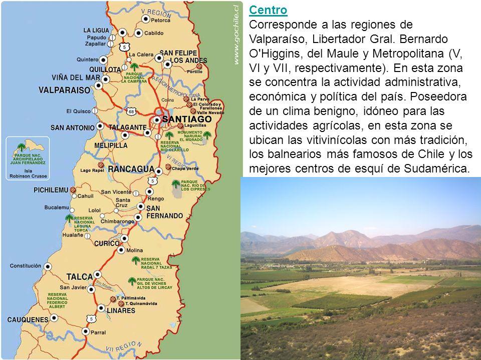 Centro Centro Corresponde a las regiones de Valparaíso, Libertador Gral. Bernardo O'Higgins, del Maule y Metropolitana (V, VI y VII, respectivamente).