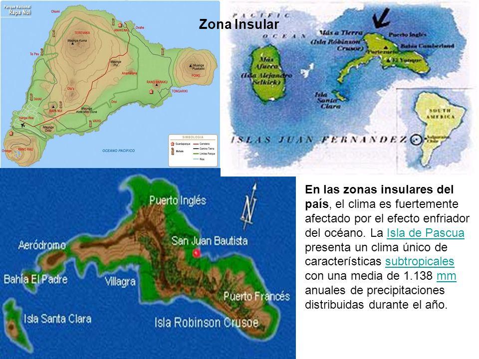 En las zonas insulares del país, el clima es fuertemente afectado por el efecto enfriador del océano. La Isla de Pascua presenta un clima único de car