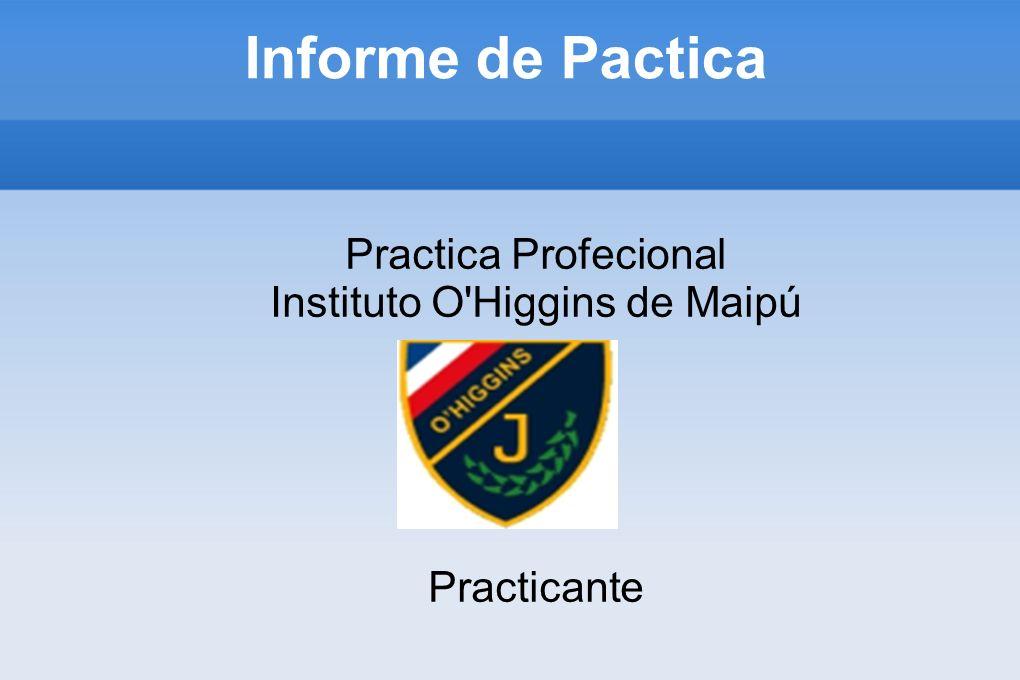 Informe de Pactica Practica Profecional Instituto O'Higgins de Maipú Practicante