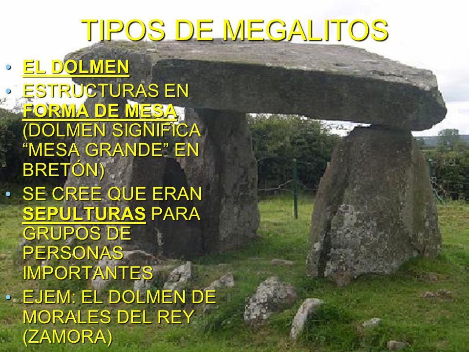 TIPOS DE MEGALITOS EL DOLMEN EL DOLMEN ESTRUCTURAS EN FORMA DE MESA (DOLMEN SIGNIFICA MESA GRANDE EN BRETÓN) ESTRUCTURAS EN FORMA DE MESA (DOLMEN SIGNIFICA MESA GRANDE EN BRETÓN) SE CREE QUE ERAN SEPULTURAS PARA GRUPOS DE PERSONAS IMPORTANTES SE CREE QUE ERAN SEPULTURAS PARA GRUPOS DE PERSONAS IMPORTANTES EJEM: EL DOLMEN DE MORALES DEL REY (ZAMORA) EJEM: EL DOLMEN DE MORALES DEL REY (ZAMORA)