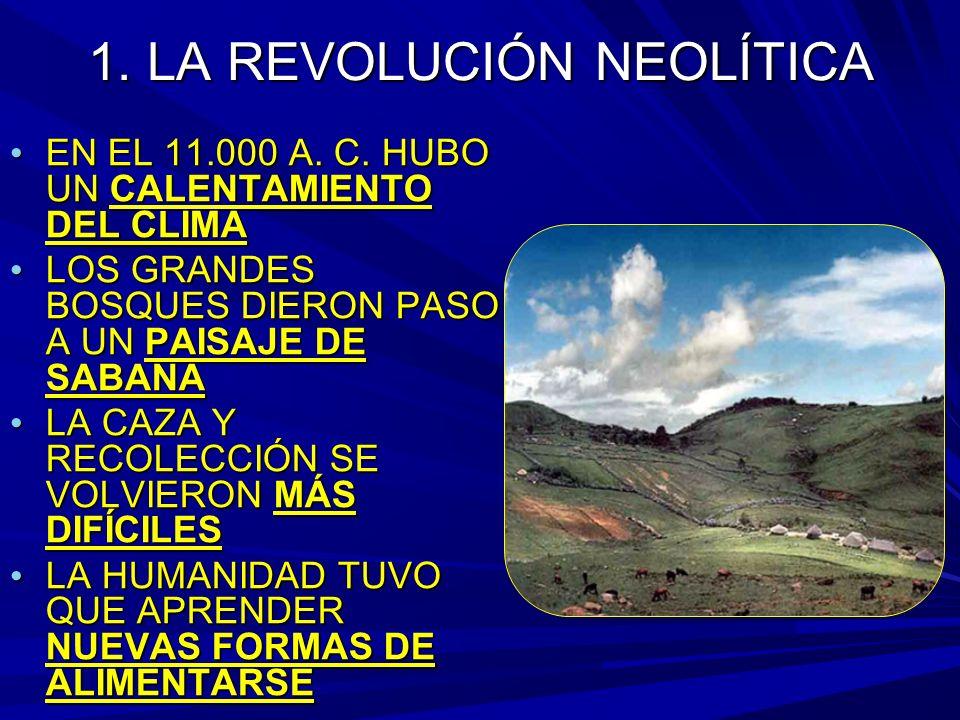 1. LA REVOLUCIÓN NEOLÍTICA EN EL 11.000 A. C. HUBO UN CALENTAMIENTO DEL CLIMA EN EL 11.000 A.