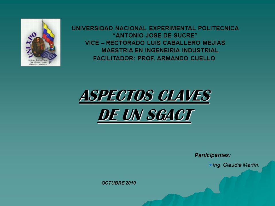 ASPECTOS CLAVES DE UN SGACT Participantes: Ing. Claudia Martín.