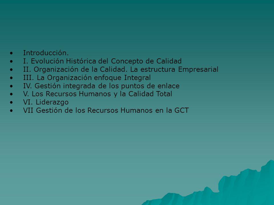 Introducción. I. Evolución Histórica del Concepto de Calidad II.