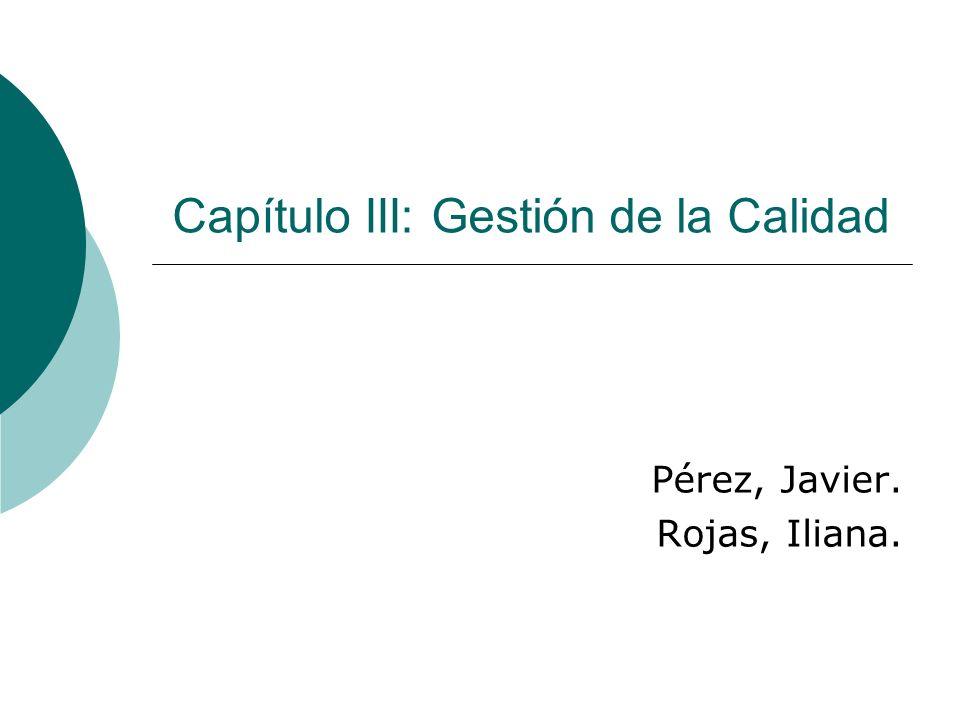 Pérez, Javier. Rojas, Iliana. Capítulo III: Gestión de la Calidad