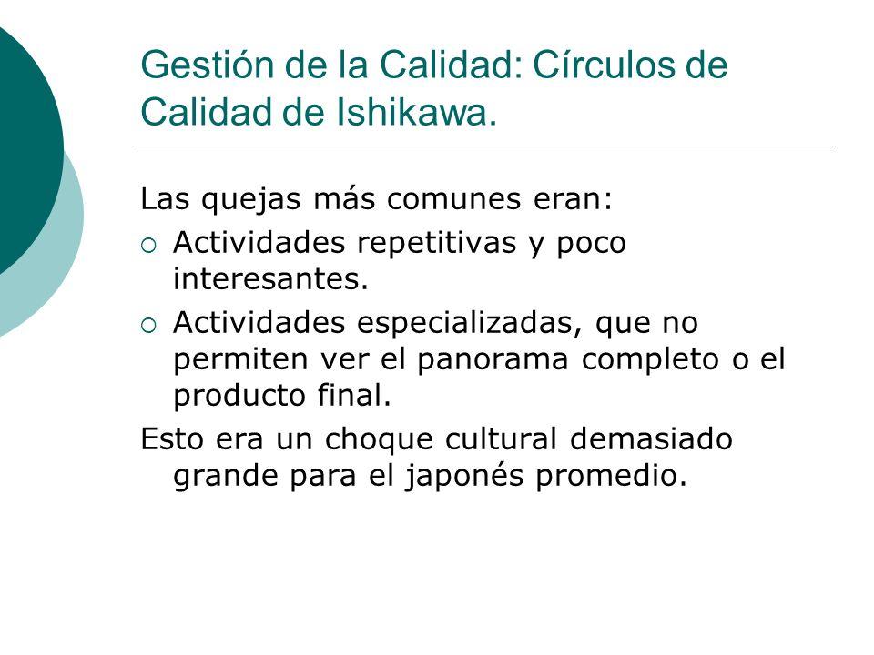 Gestión de la Calidad: Círculos de Calidad de Ishikawa. Las quejas más comunes eran: Actividades repetitivas y poco interesantes. Actividades especial