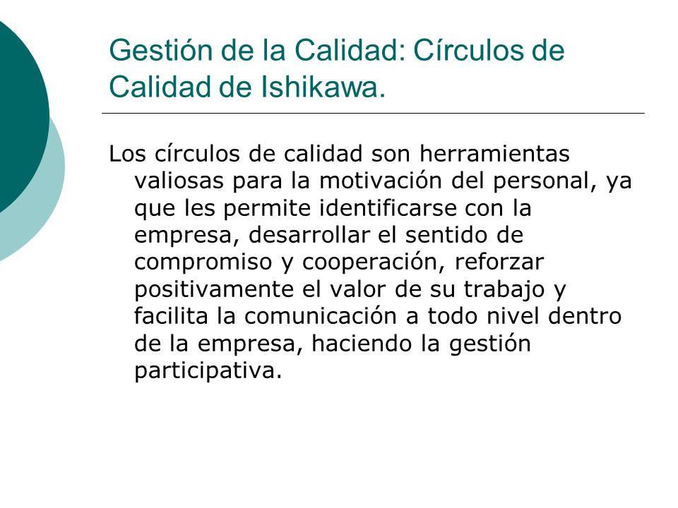 Gestión de la Calidad: Círculos de Calidad de Ishikawa. Los círculos de calidad son herramientas valiosas para la motivación del personal, ya que les