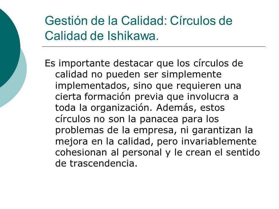 Gestión de la Calidad: Círculos de Calidad de Ishikawa. Es importante destacar que los círculos de calidad no pueden ser simplemente implementados, si
