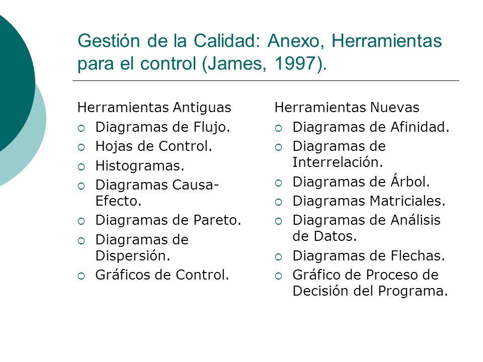 Gestión de la Calidad: Anexo, Herramientas para el control (James, 1997). Herramientas Antiguas Diagramas de Flujo. Hojas de Control. Histogramas. Dia