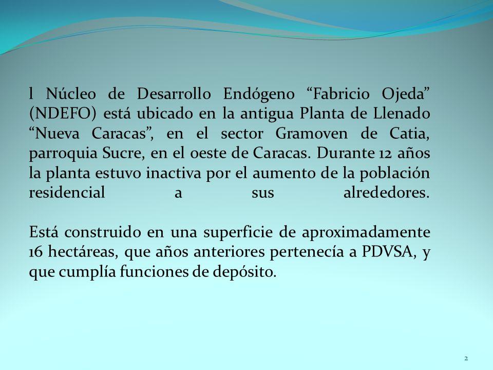 l Núcleo de Desarrollo Endógeno Fabricio Ojeda (NDEFO) está ubicado en la antigua Planta de Llenado Nueva Caracas, en el sector Gramoven de Catia, par