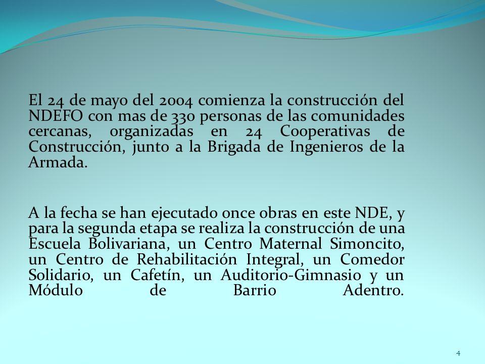El 24 de mayo del 2004 comienza la construcción del NDEFO con mas de 330 personas de las comunidades cercanas, organizadas en 24 Cooperativas de Const
