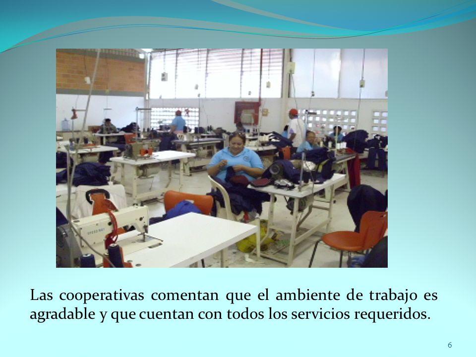 Las cooperativas comentan que el ambiente de trabajo es agradable y que cuentan con todos los servicios requeridos. 6