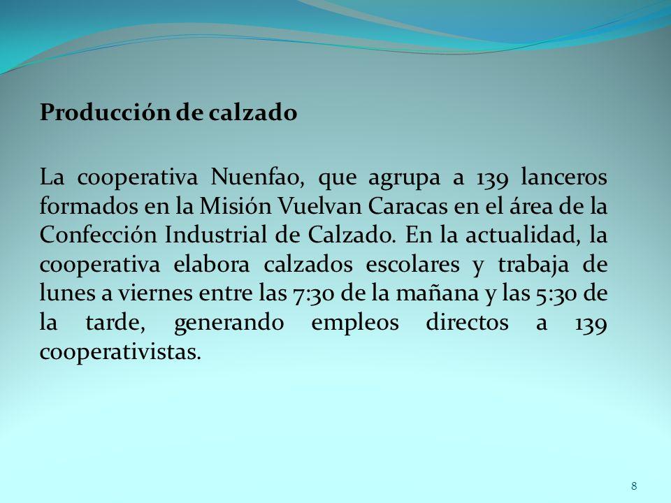 Producción de calzado La cooperativa Nuenfao, que agrupa a 139 lanceros formados en la Misión Vuelvan Caracas en el área de la Confección Industrial d