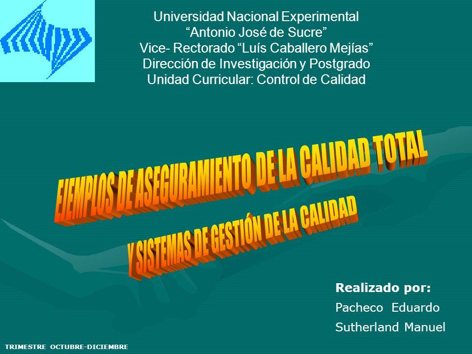Universidad Nacional Experimental Antonio José de Sucre Vice- Rectorado Luís Caballero Mejías Dirección de Investigación y Postgrado Unidad Curricular