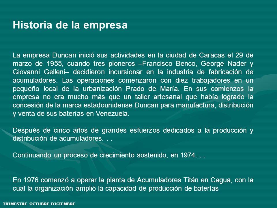 Historia de la empresa La empresa Duncan inició sus actividades en la ciudad de Caracas el 29 de marzo de 1955, cuando tres pioneros –Francisco Benco,