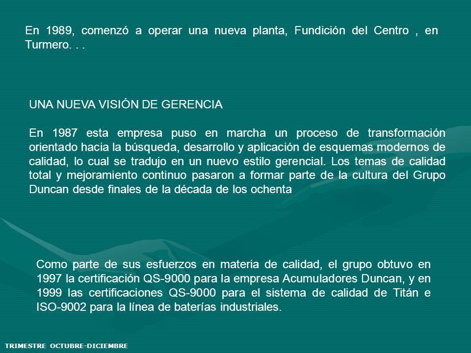 En 1989, comenzó a operar una nueva planta, Fundición del Centro, en Turmero... UNA NUEVA VISIÓN DE GERENCIA En 1987 esta empresa puso en marcha un pr