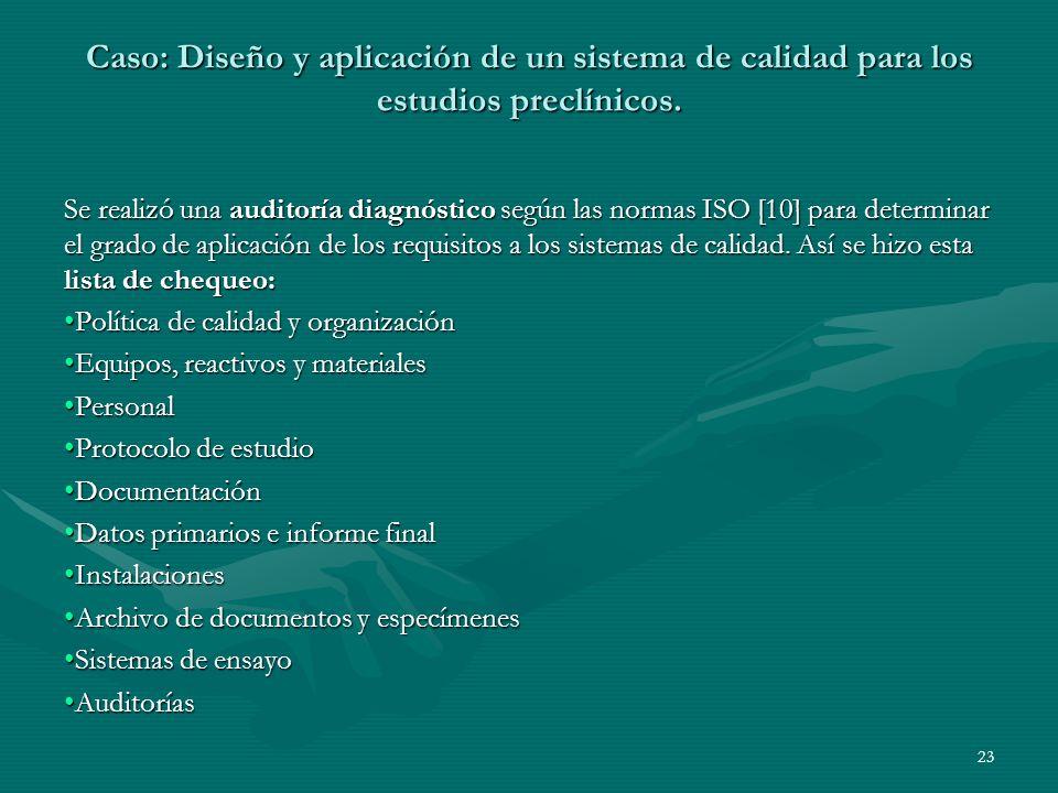 Se realizó una auditoría diagnóstico según las normas ISO [10] para determinar el grado de aplicación de los requisitos a los sistemas de calidad. Así