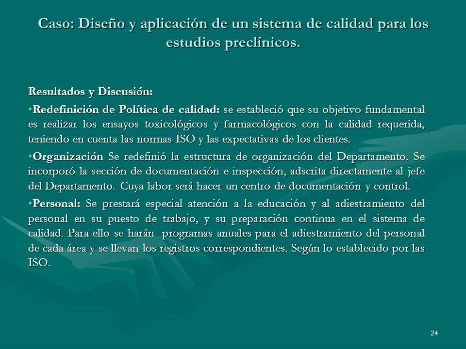 Resultados y Discusión: Redefinición de Política de calidad: se estableció que su objetivo fundamental es realizar los ensayos toxicológicos y farmaco