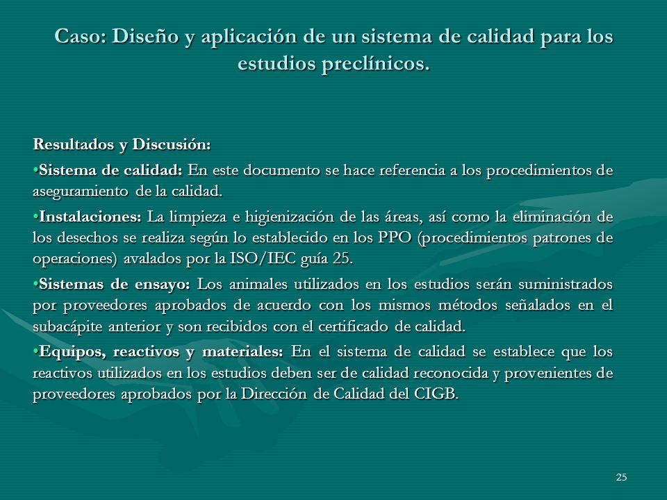 Resultados y Discusión: Sistema de calidad: En este documento se hace referencia a los procedimientos de aseguramiento de la calidad.Sistema de calida