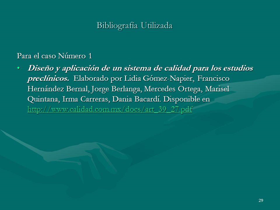 Bibliografía Utilizada Para el caso Número 1 Diseño y aplicación de un sistema de calidad para los estudios preclínicos. Elaborado por Lidia Gómez-Nap