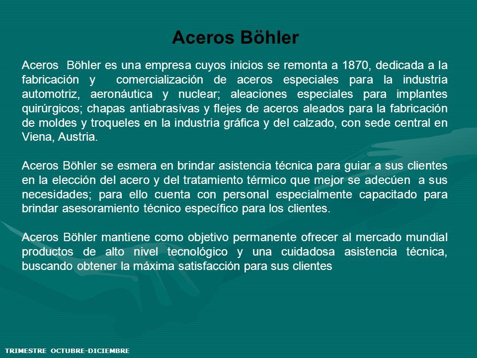 Aceros Böhler Aceros Böhler es una empresa cuyos inicios se remonta a 1870, dedicada a la fabricación y comercialización de aceros especiales para la