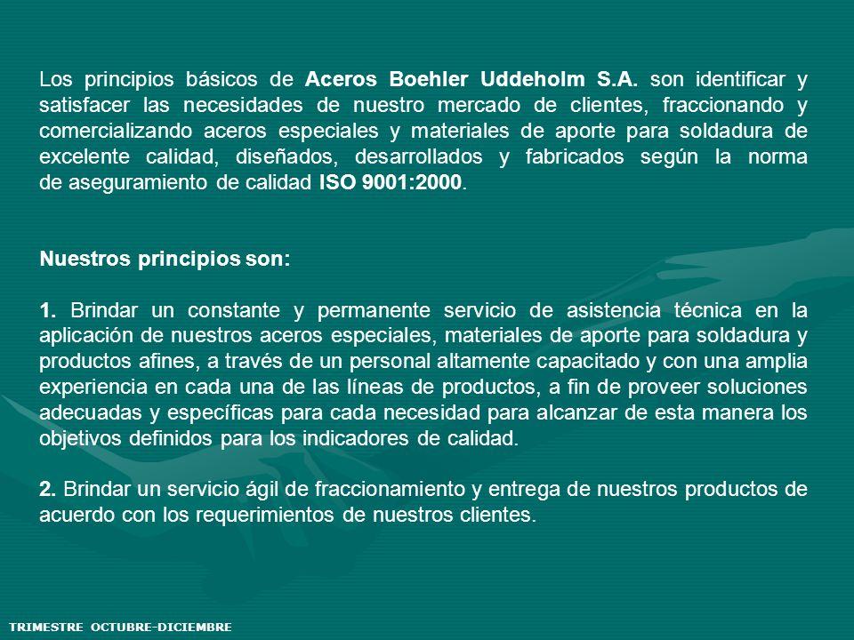 TRIMESTRE OCTUBRE-DICIEMBRE Los principios básicos de Aceros Boehler Uddeholm S.A. son identificar y satisfacer las necesidades de nuestro mercado de