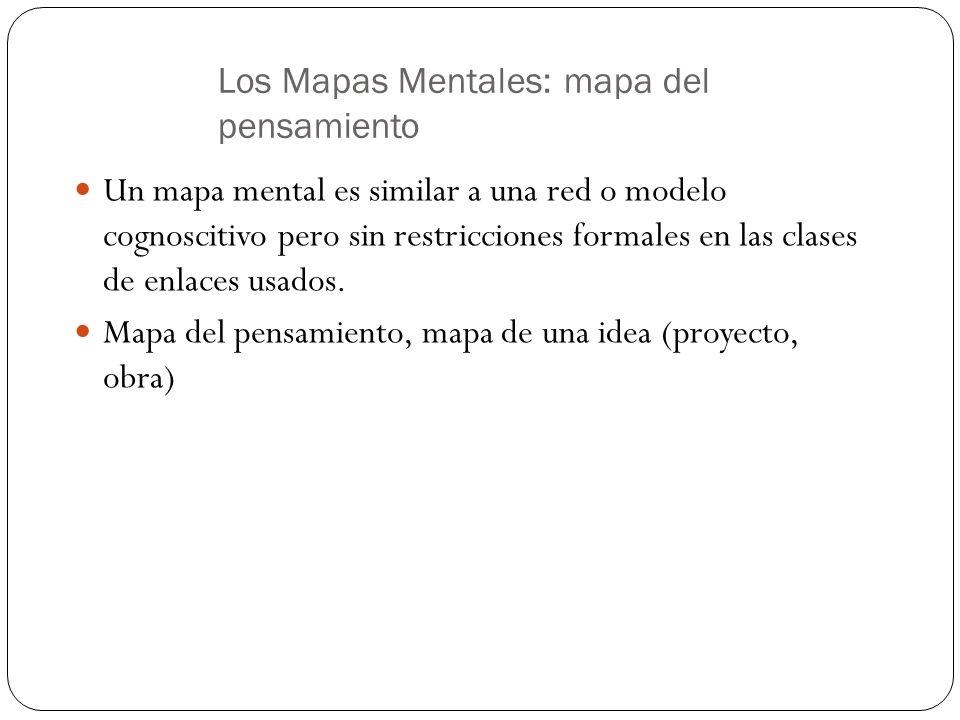 Los Mapas Mentales: mapa del pensamiento Un mapa mental es similar a una red o modelo cognoscitivo pero sin restricciones formales en las clases de en