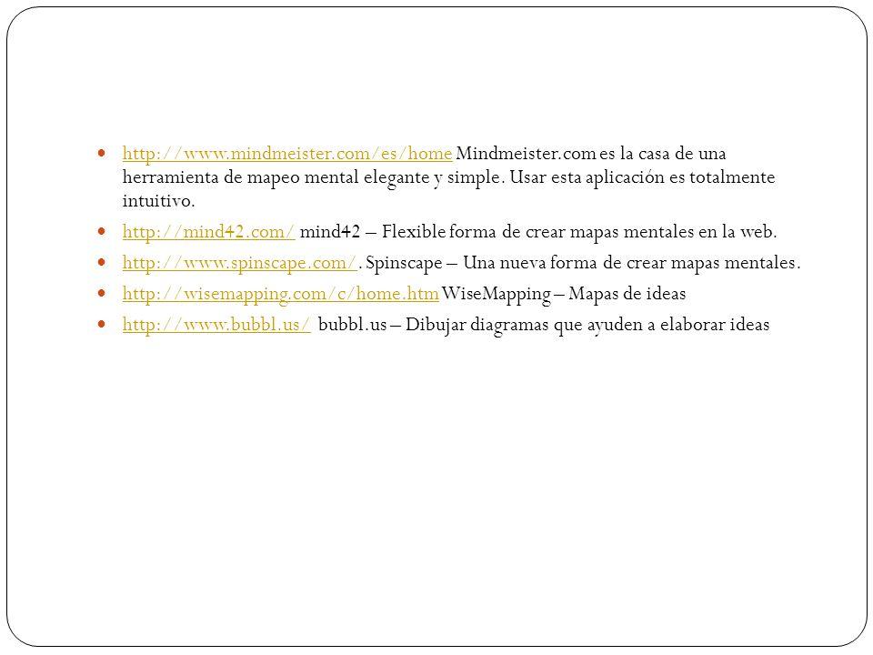 http://www.mindmeister.com/es/home Mindmeister.com es la casa de una herramienta de mapeo mental elegante y simple. Usar esta aplicación es totalmente