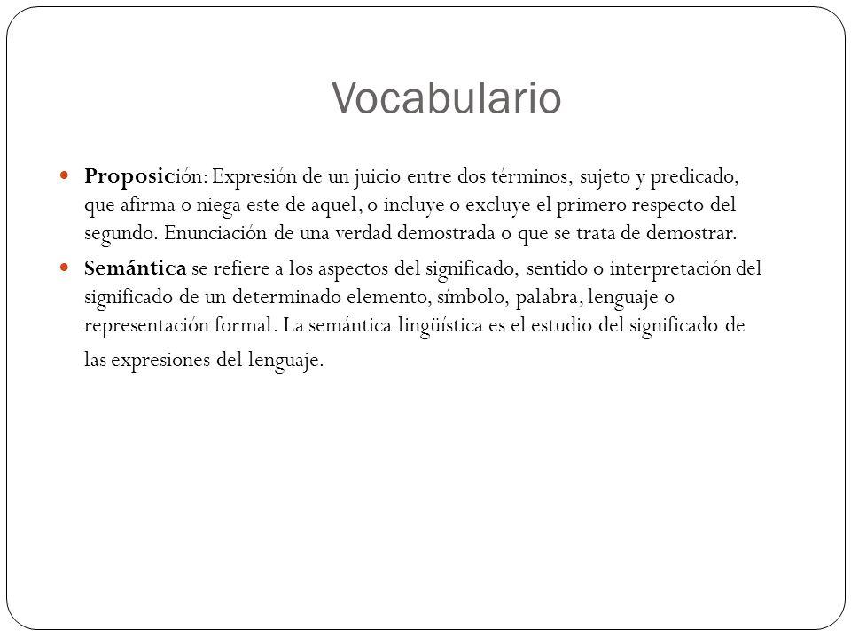 Vocabulario Proposición: Expresión de un juicio entre dos términos, sujeto y predicado, que afirma o niega este de aquel, o incluye o excluye el prime