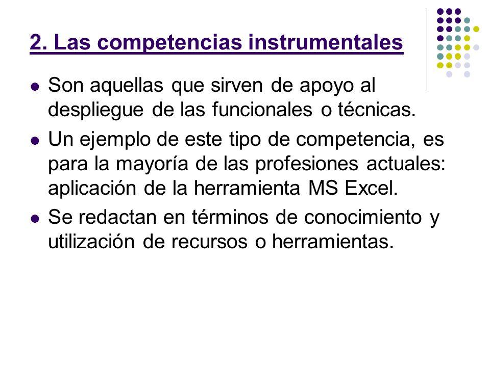 2. Las competencias instrumentales Son aquellas que sirven de apoyo al despliegue de las funcionales o técnicas. Un ejemplo de este tipo de competenci