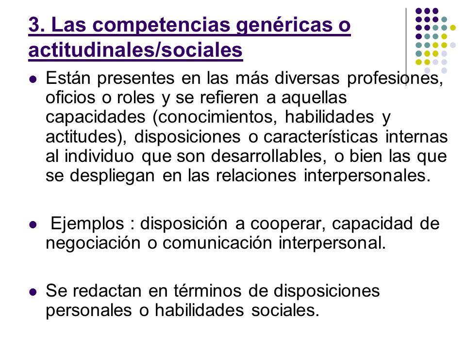 3. Las competencias genéricas o actitudinales/sociales Están presentes en las más diversas profesiones, oficios o roles y se refieren a aquellas capac
