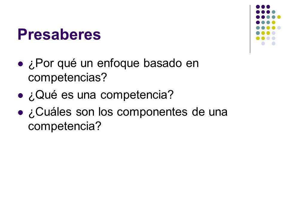 Presaberes ¿Por qué un enfoque basado en competencias? ¿Qué es una competencia? ¿Cuáles son los componentes de una competencia?