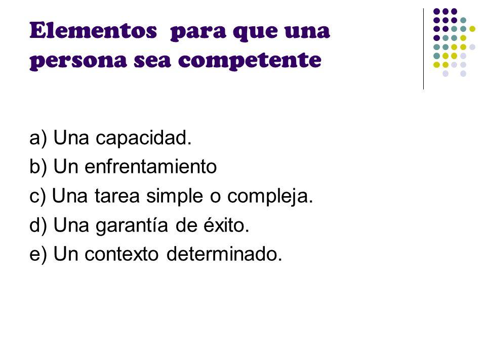 Elementos para que una persona sea competente a) Una capacidad. b) Un enfrentamiento c) Una tarea simple o compleja. d) Una garantía de éxito. e) Un c