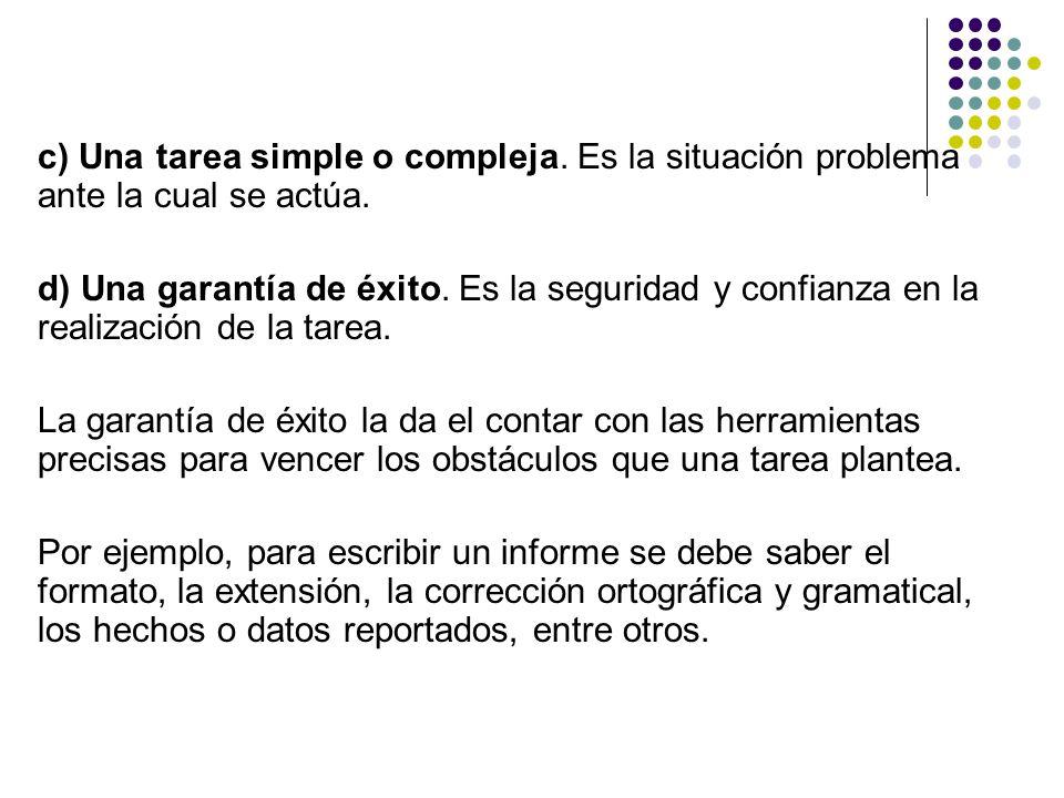 c) Una tarea simple o compleja. Es la situación problema ante la cual se actúa. d) Una garantía de éxito. Es la seguridad y confianza en la realizació