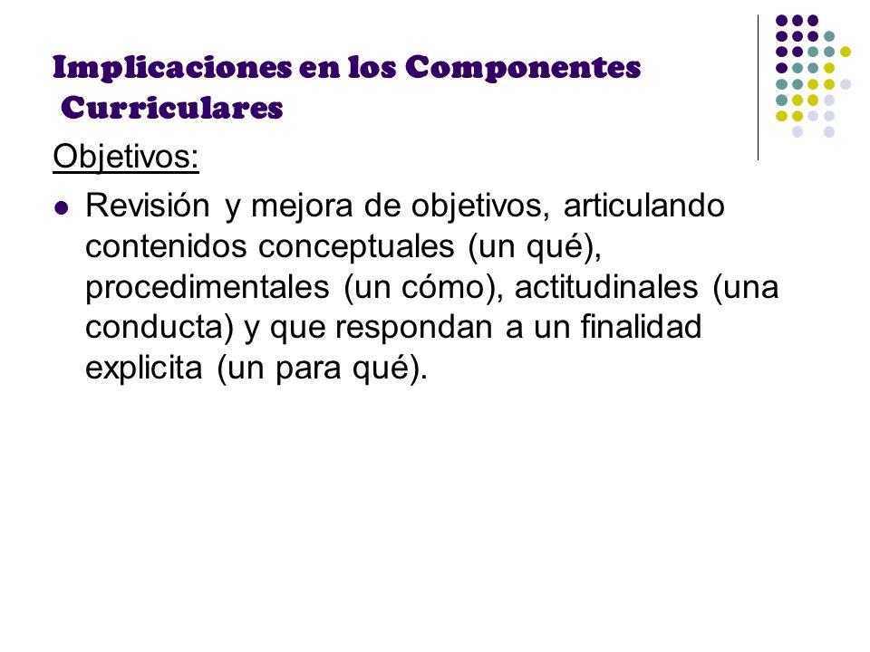 Implicaciones en los Componentes Curriculares Objetivos: Revisión y mejora de objetivos, articulando contenidos conceptuales (un qué), procedimentales
