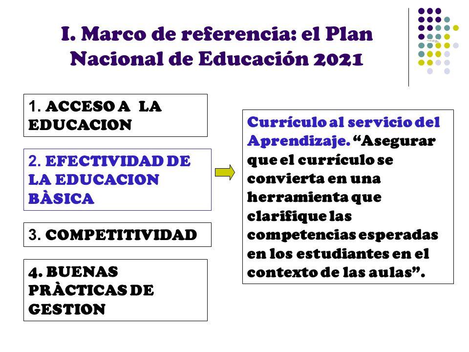 I. Marco de referencia: el Plan Nacional de Educación 2021 1. ACCESO A LA EDUCACION 2. EFECTIVIDAD DE LA EDUCACION BÀSICA 3. COMPETITIVIDAD 4. BUENAS