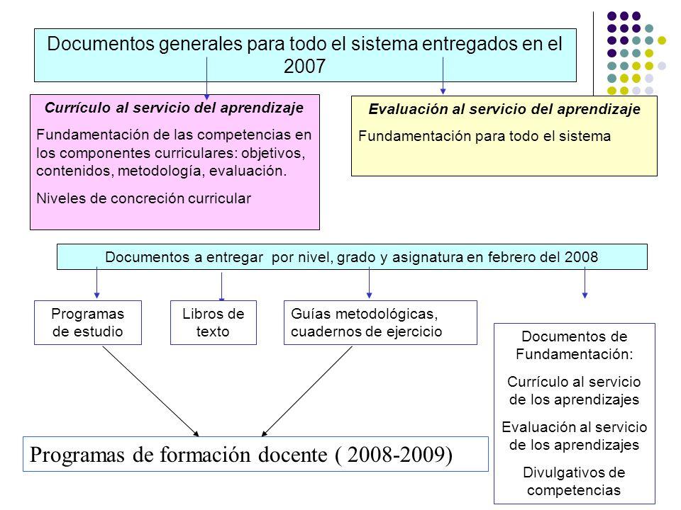 Evaluación al servicio del aprendizaje Fundamentación para todo el sistema Currículo al servicio del aprendizaje Fundamentación de las competencias en