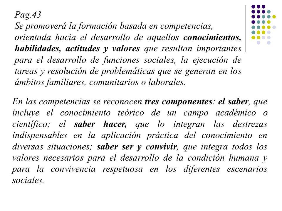 Pag.43 Se promoverá la formación basada en competencias, orientada hacia el desarrollo de aquellos conocimientos, habilidades, actitudes y valores que