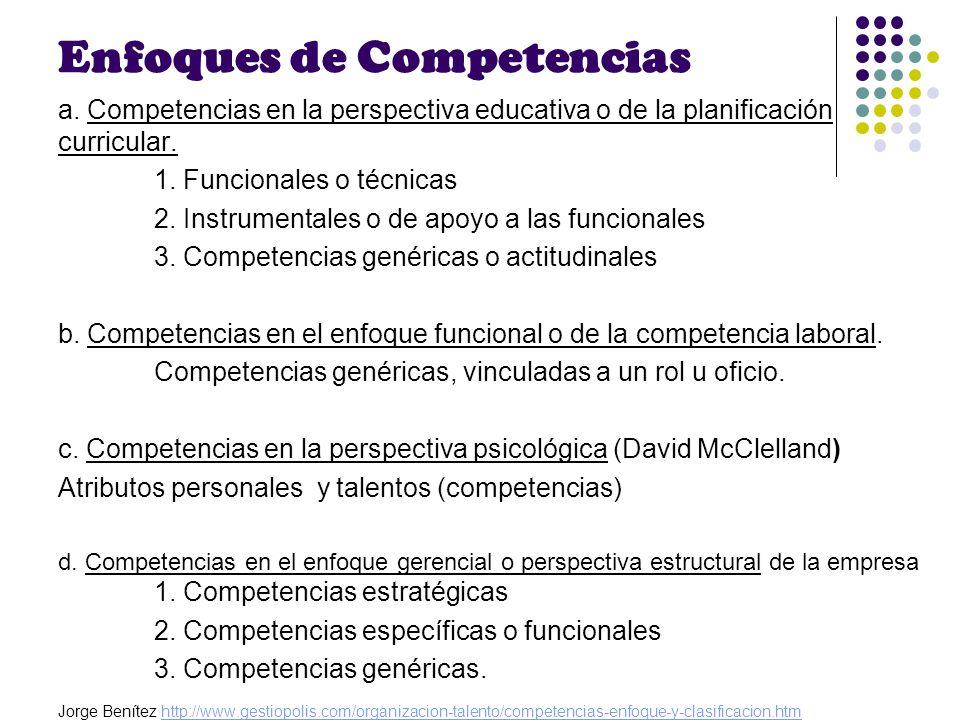 Enfoques de Competencias a. Competencias en la perspectiva educativa o de la planificación curricular. 1. Funcionales o técnicas 2. Instrumentales o d
