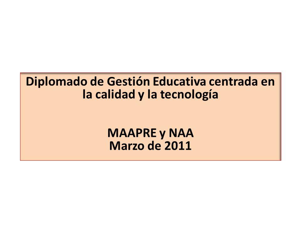 Diplomado de Gestión Educativa centrada en la calidad y la tecnología MAAPRE y NAA Marzo de 2011