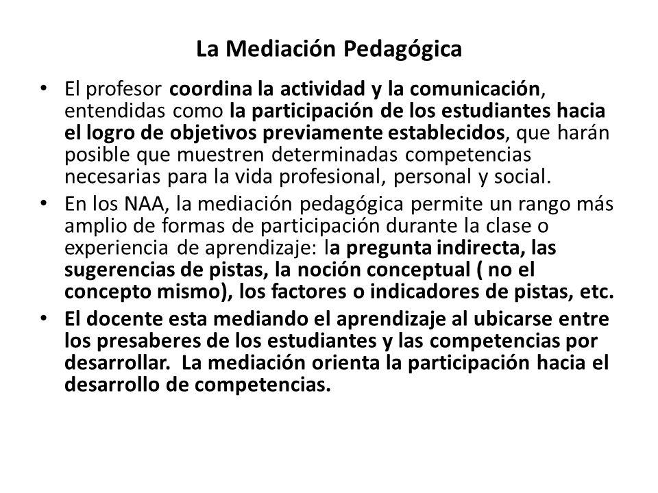 La Mediación Pedagógica El profesor coordina la actividad y la comunicación, entendidas como la participación de los estudiantes hacia el logro de obj